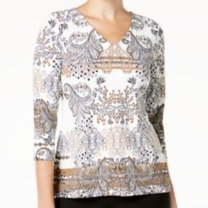 Charter Club Blouse Printed Top Cloud Combo 3/4